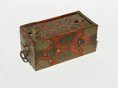 19th C Antique Chinese Wood Storage Jewelry Box Applied Brass Butterfly