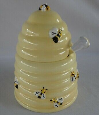 Lovely Large BEE HIVE Honey Pot with Twirler LOTS OF BEES !