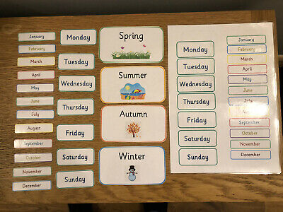Days Of The Week, Months Of The Year And Seasons Flash Cards Home Learning EY