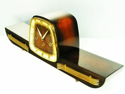 Art Deco Westminster Chiming Mantel Clock Hermle  Black Forest Germany