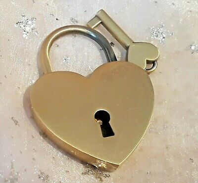 Large Antique Brass Love Heart Metal Padlock / Working Lock with Key/ Scratches