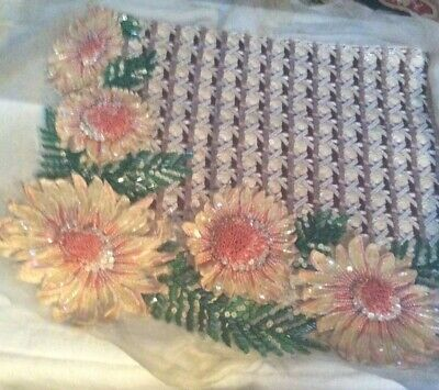 VINTAGE FRENCH SEQUIN FLORALAPPLIQUE :probably LESAGE