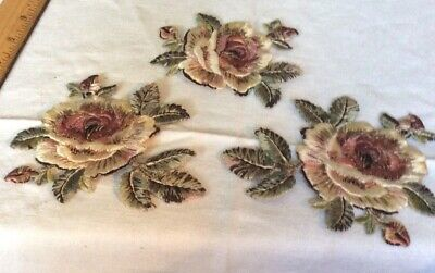 Antique/Vintage Embroidered Rose Appliques