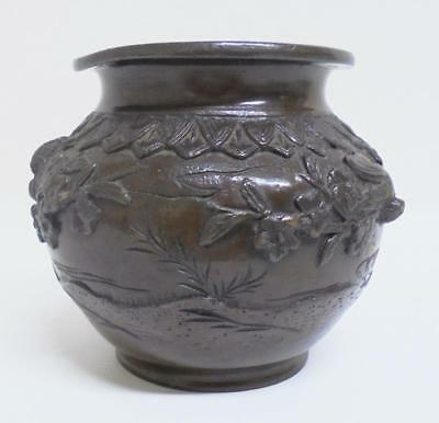 Meiji 明治 Japanese Solid Bronze Censer or Pot with intricate carvings