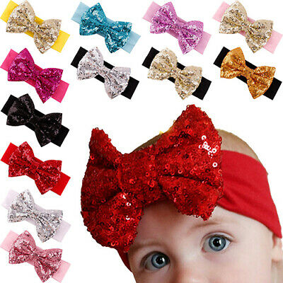 EY_ SN_ EB_ FT- Baby Girl Hair Band Sequined Bow Headband Bowknot Hair Accessory