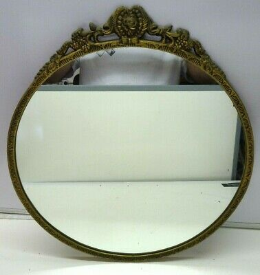Vintage Round French Rocco Style Metal Gold frame  Mirror 45 cm Diameter