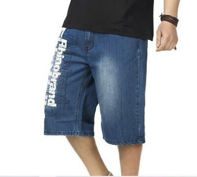 PLUS SIZE MENS Jeans Shorts Baggy Hip Hop Capri Pants Large