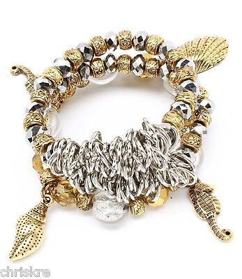 Gold Silver Seahorse Charm Bracelet Chunky Conch Shell Sea Life Plated