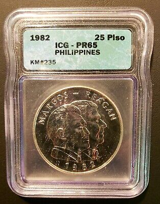 1982 Philippine MARCOS REAGAN Visit 25 Piso Silver Proof!  Mintage: 250!