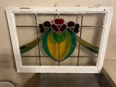 "Antique Leaded Stain Glass Window (28.5""W x 21""H x 2""D) C"