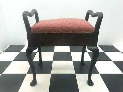 Antique mahogany queen anne piano stool on cabriole legs with underseat storage