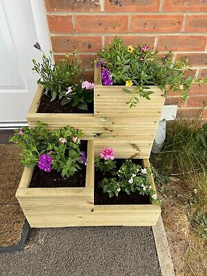 Handmade Large 4 tier wooden decking garden planter - Outdoor Flowers Plants