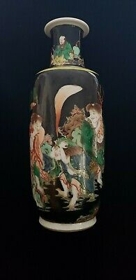 19C Chinese Famille Rose Noire Black Ground Porcelain Vase With Immortals