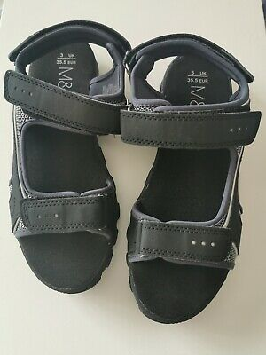 New Older Boys Marks And Spencer Black Summer Sandals Size UK 3 UK 35.5 Eur