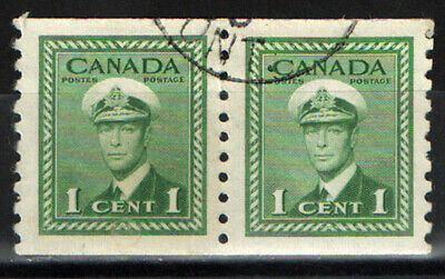 Canada   Scott  278  One Cent Coil Pair   Fine Used