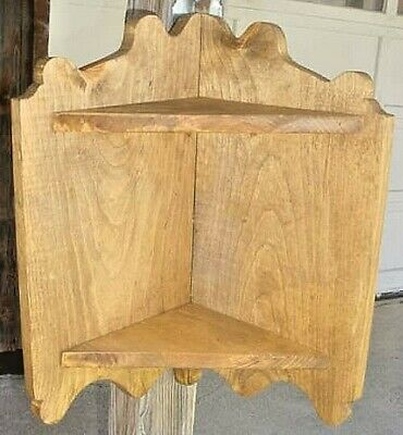 2 Shelf Pine Hanging Corner Cupboard- Early 1900`S Copy Hand Made ! Solid Wood