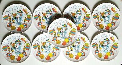 "Lot of 9 Vintage 1965 Snoopy and Woodstock 7"" Melamine Birthday Party Plates"