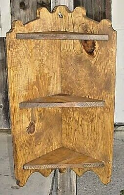 Wooden 3 Shelf Pine Hanging Corner Cupboard- Early 1900`S Copy Hand Made !