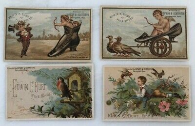 4 1881 Fine SHOES Birds CUPID Advertising VICTORIAN Trade Card SPRINGFIELD MA