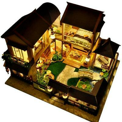 3D Wooden LED Dollhouse Miniature Furniture Doll House DIY Toy Gift C9K3
