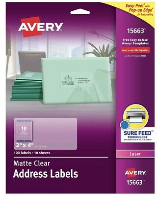"Avery Easy Peel Permanent Laser Address Labels, 15663, 2"" x 4"", Clear 100-Pk"