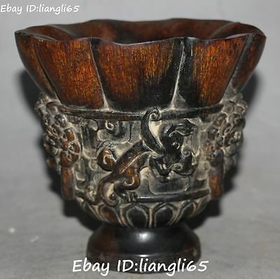 Rare Oxhorn Ox Horn Carving Dragon Dragons Loong Pixiu Beast Cup Cups Statue