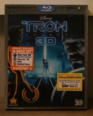 Tron: Legacy 3D, Blu-Ray and DVD Discs with Slip Cover!