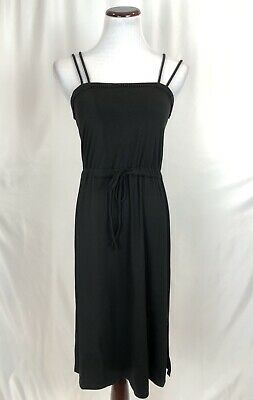NWT Victorias Secret Black Strappy Jersey Summer Dress Drawstring Waist Small