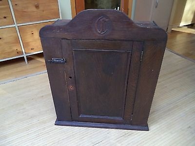 """Antique Handmade Primitive Wall Cupboard with Monogram """"C"""" 110-120 years old"""