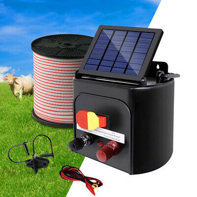 Solar Powered Fence Energiser Farm Fencing Charger Electric with Polytape 400M