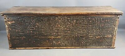 Enormous 18th Century Carved and Painted Pine Coffer