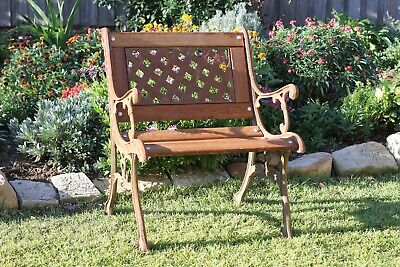 Outdoor black cast iron single garden chair wood seat with woven metal back