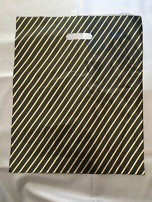 """100 x Strong Black/Gold Striped Plastic Carrier Bags 18""""x15"""" Gift Shopping Bag"""