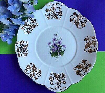 Vintage Windsor Bone China Purple Violets & Gold Filigree Tea Set Cake Plate