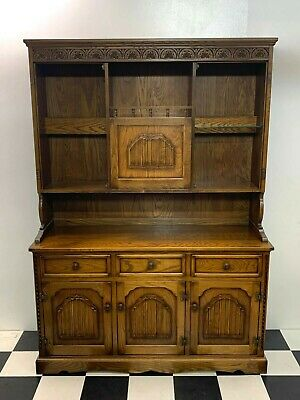 Vintage Nathan old charm style linen fold wall unit dresser cabinet - Delivery