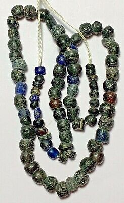 Rare Ancient Egyptian Glass Dark Beads Necklace Circa 2500 - 1900 Bc Is Perfect
