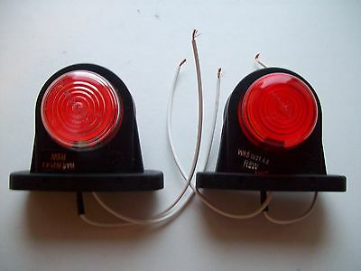 2 x  Rubber Side Marker Lights for Trailers/trucks complete with bulb FREE P&P