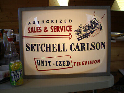 "VINTAGE SETCHELL CARLSON TV AUTHORIZED SALES & SERVICE SIGN 20"" x 16"" LIGHTS UP"