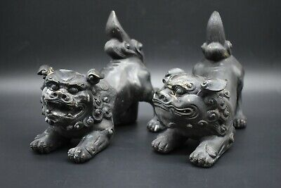 Chinese Qing Dynasty pair of bronze Foo Dogs C. 19th century AD