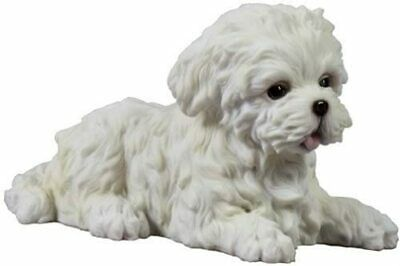 4.5 Inch Maltese Puppy Lying Down Statue Sculpture Figurine **GIFT BOXED**