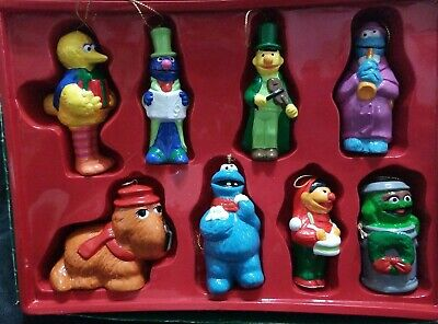 8 Vintage Sesame Street Muppet Christmas Ornaments Big Bird Cookie Monster Oscar