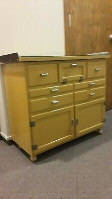 Vintage Antique Wood with Glass Top Medical Cabinet Doors Drawers