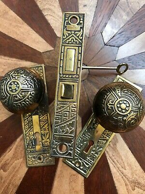 Antique Eastlake Entry Door Knob Set Including  Plates & Mortise Corbins  Ceylon