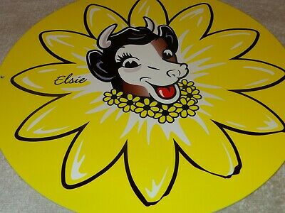 "Vintage ""Borden's Dairy Elsie The Cow"" 11 3/4"" Metal Ice Cream Gasoline Oil Sign"
