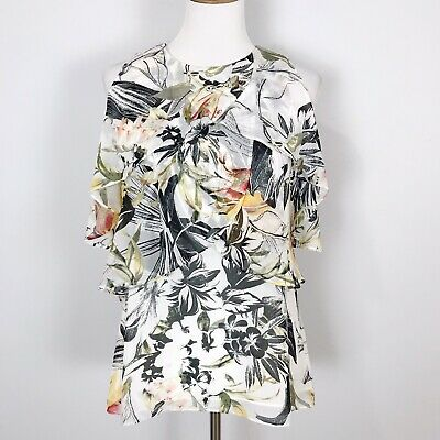 WHBM White House Black Market Women's SMALL Floral COLD SHOULDER Top Tiered