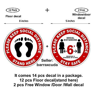 """SOCIAL DISTANCE 8"""" Floor Sign Circle Stickers Removable 12 pcs - Stand Here"""