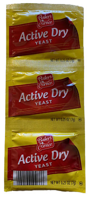 Active Dry Yeast - Bakers Corner - 0.25 Ounce, 3 Count Pack (0.75 oz Total Weigh