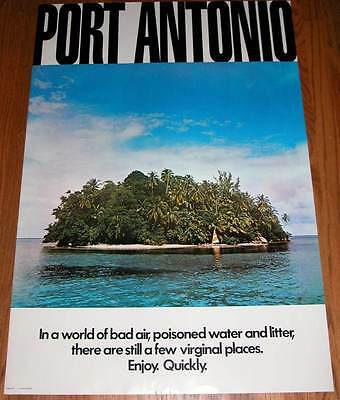New Vintage Port Antonio Jamaica Tourist Board Travel Poster Rare Out of Print