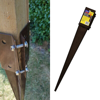 Drive In Fence Post Support Spike Clamp Grip Epoxy Brown