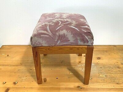 Vintage compact pine framed upholstered padded footstool stool seat step retro